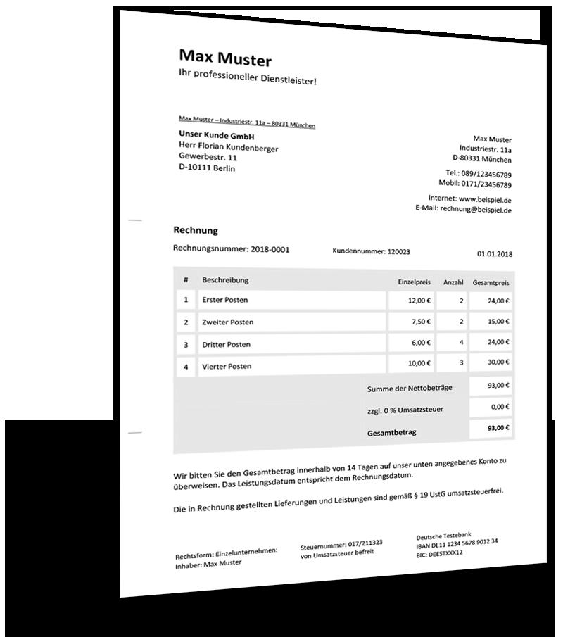 Musterrechnung Kleinunternehmer Rechnungsvorlage