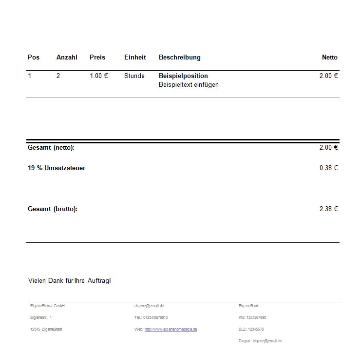 Rechnungsformular Rechnungsvorlage