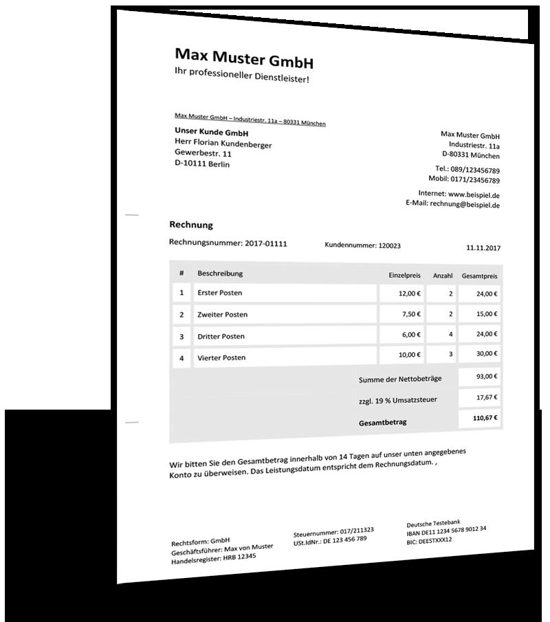 Auszug Rechnungsvorlage